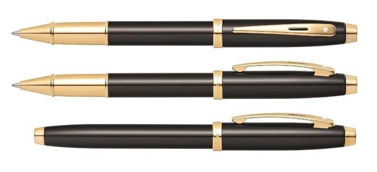 9322 RB Pióro kulkowe Sheaffer kolekcja 100, czarne, wykończenia w kolorze złotym
