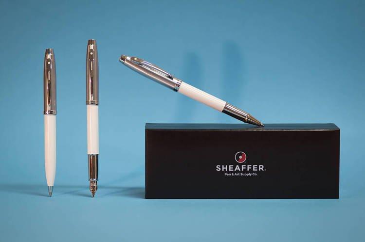 9324 Zestaw (pióro wieczne i długopis) Sheaffer kolekcja 100, białe, wykończenia chromowane