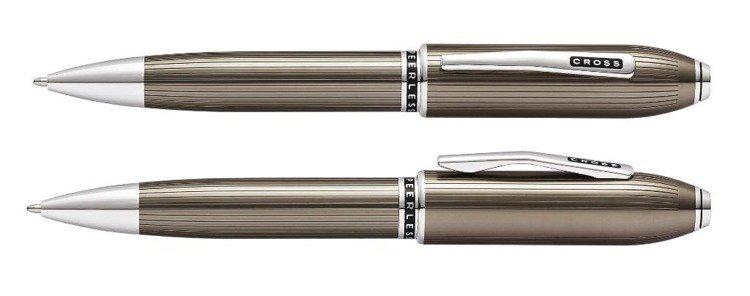 Długopis Cross Peerless prążkowane, tytanowo szare, elementy platerowane platyną
