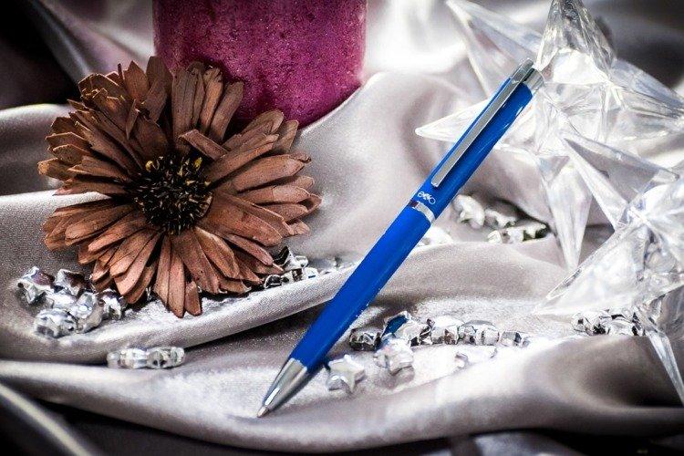Długopis EXO Vela, niebieski, wykończenia chromowane