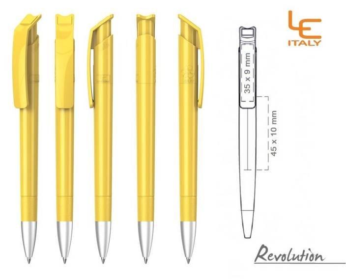 Długopis LE ITALY Revolution solid ALrPET żółty