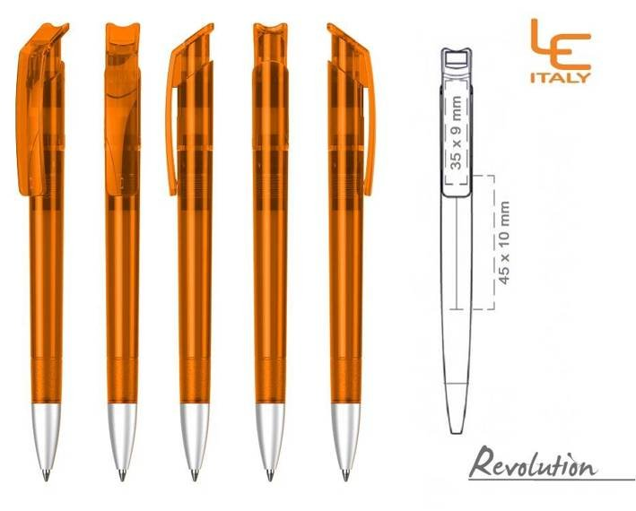 Długopis LE ITALY Revolution transparentny ALrPET pomarańczowy