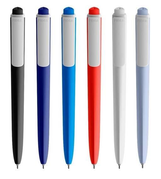 Długopis PIGRA P02, ciemnoniebieski z białym klipsem
