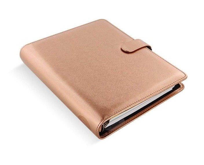 Organizer fILOFAX SAFFIANO Metallic A5, różowe złoto