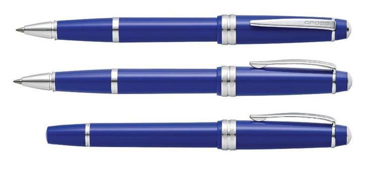 Pióro kulkowe Cross Bailey Light niebieskie, elementy chromowane