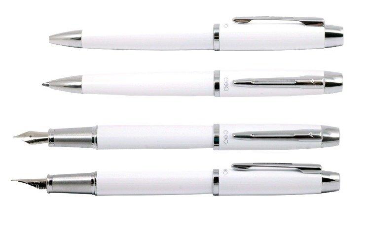 Zestaw (pióro wieczne i długopis) EXO Aries, biały, wykończenia chromowane